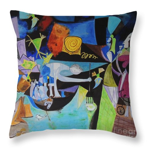 Picasso Throw Pillow featuring the painting Picasso  Night Fishing At Antibes by Shahid Zuberi