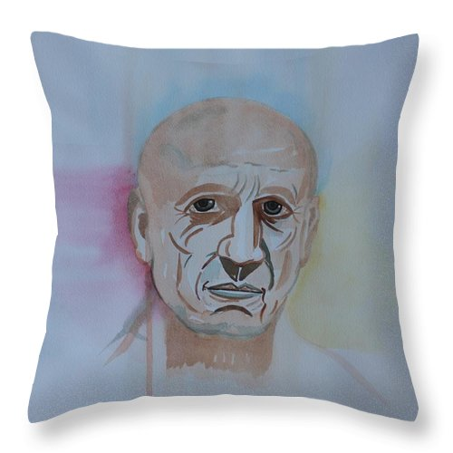 Watercolor Throw Pillow featuring the painting Picasso by Roger Cummiskey