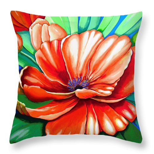 Original Painting Throw Pillow featuring the painting Pick Me Poppy by Carol Sabo