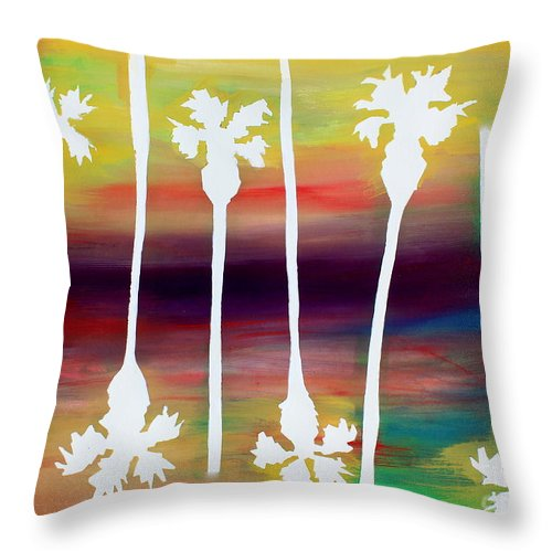 Palm Trees Throw Pillow featuring the painting Pick Up Stix by Sean Hughes