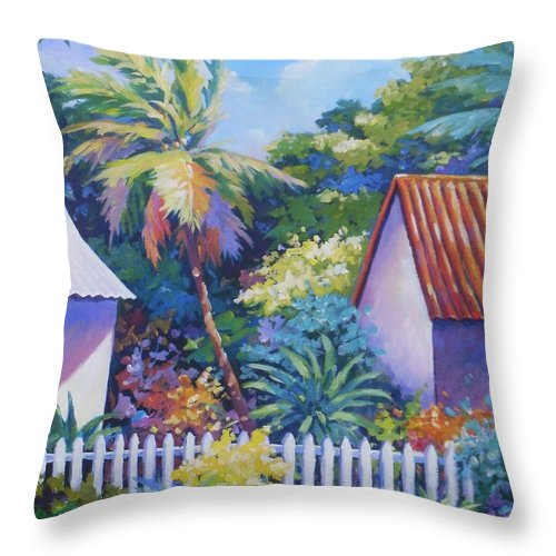 Art Throw Pillow featuring the painting Picket Fence by John Clark