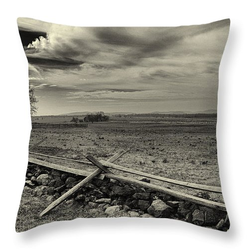 Joshua House Photo Throw Pillow featuring the photograph Picketts Charge The Angle Black And White by Joshua House