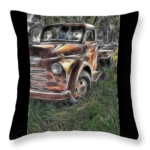 Pickup Truck Throw Pillow featuring the photograph Pickup 2467 by Timothy Bischoff