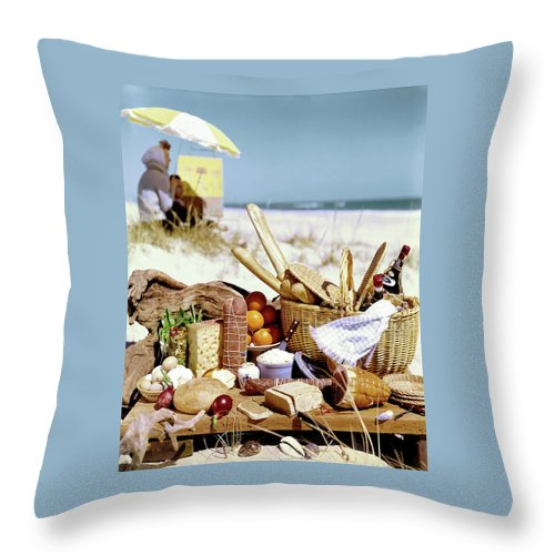 Picnic Display On The Beach Throw Pillow