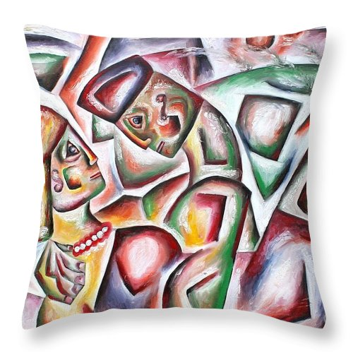 People Throw Pillow featuring the painting Picnic by Leona Tobin