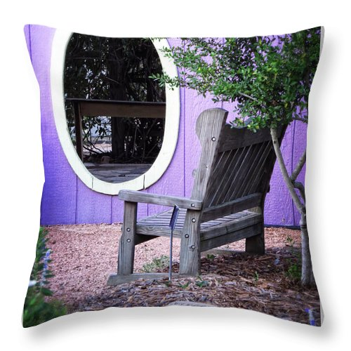 Window Throw Pillow featuring the photograph Picture Perfect Garden Bench by Ella Kaye Dickey