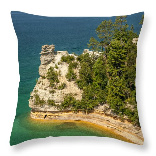 Pictured Rocks National Lakeshore Throw Pillow featuring the photograph Pictured Rocks National Lakeshore by Sebastian Musial