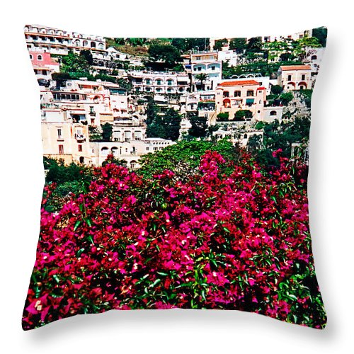 Picturesque Throw Pillow featuring the photograph Picturesque Positano by Donna Proctor