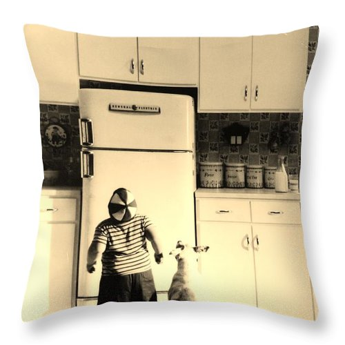 Pie Throw Pillow featuring the photograph PIE IN THE SKY in SEPIA by Rob Hans