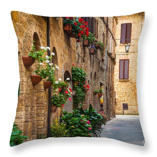 Europe Throw Pillow featuring the photograph Pienza Street by Inge Johnsson