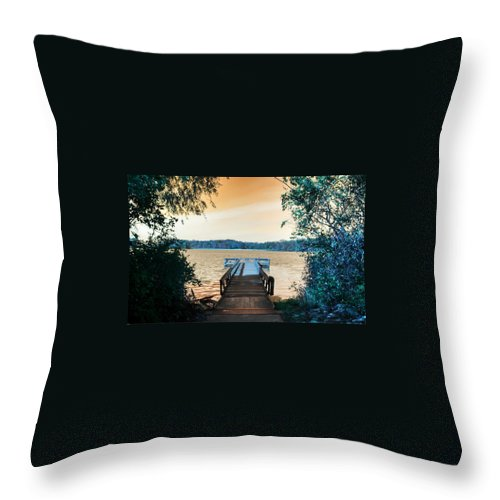 Lake Throw Pillow featuring the photograph Pier At The Lake by Paul Szakacs