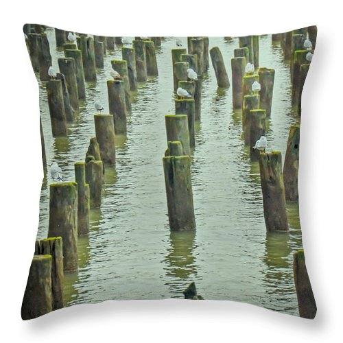 Piers Throw Pillow featuring the photograph Piers And Birds by PatriZio M Busnel