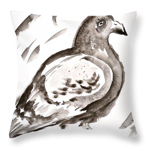 Pigeon I Sumi-e Style Throw Pillow featuring the painting Pigeon I Sumi-e Style by Beverley Harper Tinsley