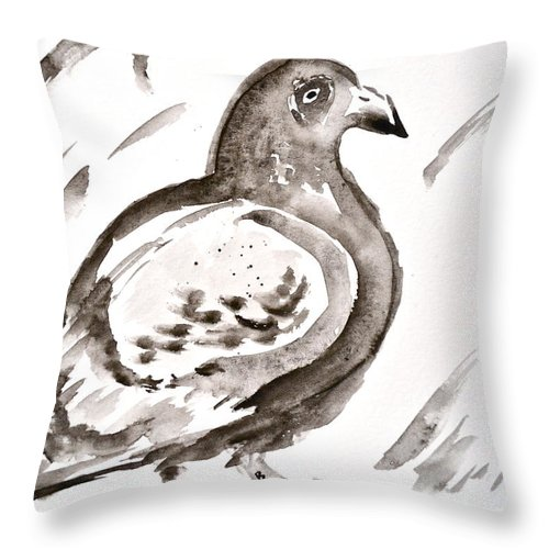 Pigeon Ii Sumi-e Style Throw Pillow featuring the painting Pigeon II Sumi-e Style by Beverley Harper Tinsley