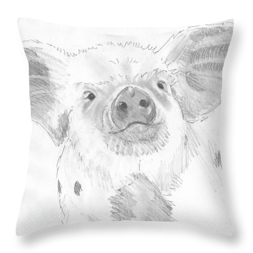 Pig Throw Pillow featuring the drawing Piglet  by Mike Jory