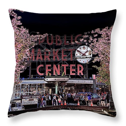 Pike Place Market Throw Pillow featuring the photograph Pike Place Market IIi by David Patterson