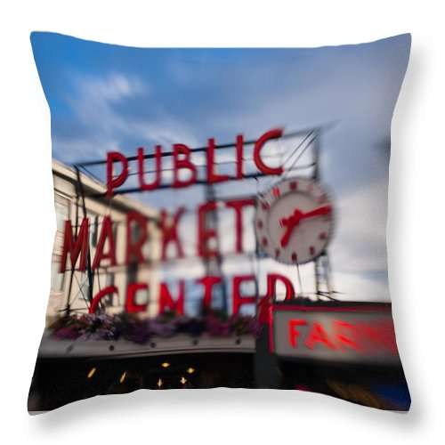 Hotel Throw Pillow featuring the photograph Pike Place Public Market Neon Sign by Scott Campbell
