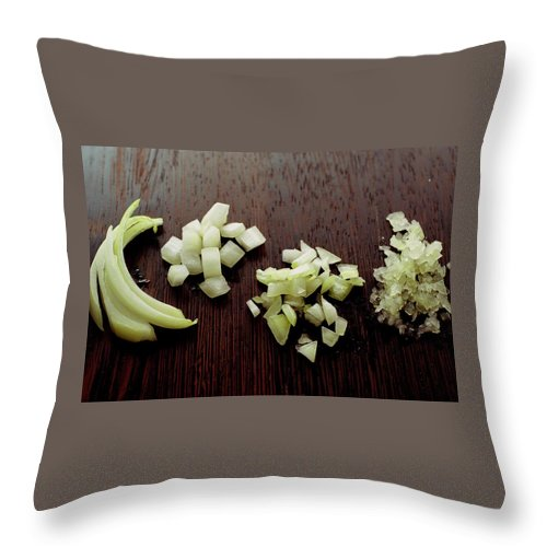 Onion Throw Pillow featuring the photograph Piles Of Raw Onion by Romulo Yanes