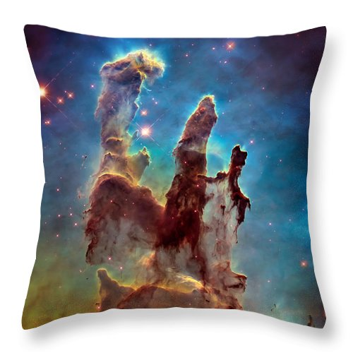 Pillars Of Creation Throw Pillow featuring the photograph Pillars Of Creation In High Definition - Eagle Nebula by Jennifer Rondinelli Reilly - Fine Art Photography