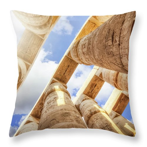 Ancient History Throw Pillow featuring the photograph Pillars Of The Great Hypostyle Hall by Cinoby