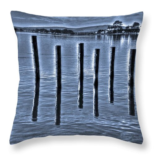 Bay Throw Pillow featuring the photograph pillars on the Bay by SC Heffner