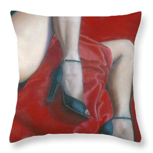 Red Throw Pillow featuring the painting Pillow by Mary Ann Leitch