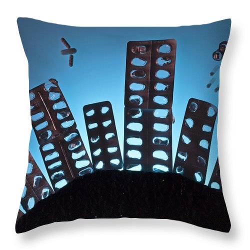 Shadow Throw Pillow featuring the photograph Pills And Blister Packs Arranged To by Fstop Images - Larry Washburn