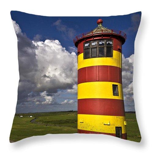 Heiko Throw Pillow featuring the photograph Pilsum Lighthouse by Heiko Koehrer-Wagner