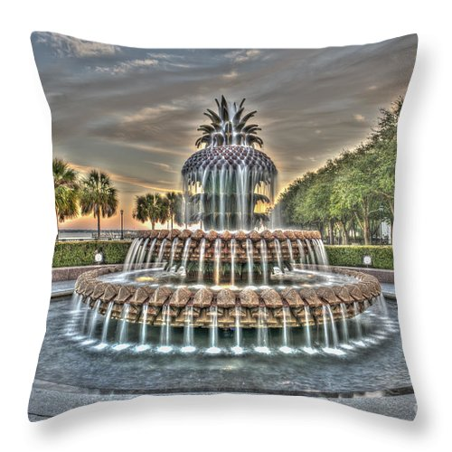 Pineapple Fountain Throw Pillow featuring the photograph Color Filled Pineapple by Dale Powell