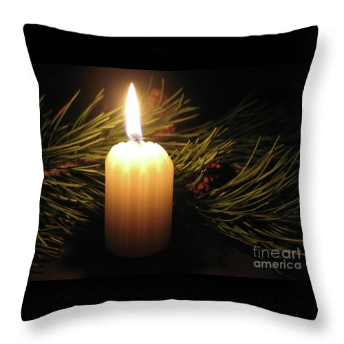 Candle Throw Pillow featuring the photograph Pine Bough And Candle by Ann Horn