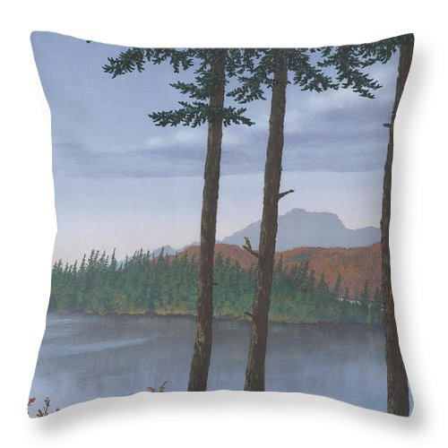 Lake Throw Pillow featuring the painting Pine Island by Peter Rashford