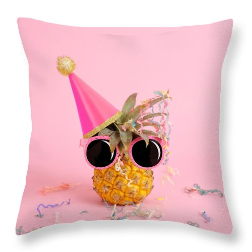 Celebration Throw Pillow featuring the photograph Pineapple Wearing A Party Hat And by Juj Winn