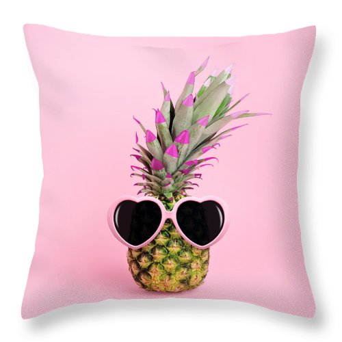 Food Throw Pillow featuring the photograph Pineapple Wearing Sunglasses by Juj Winn