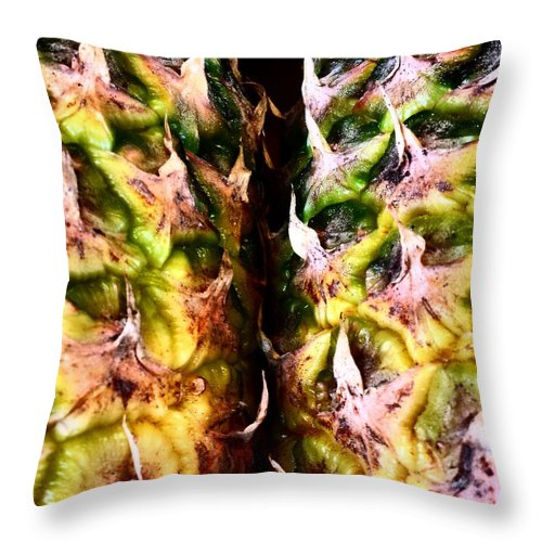 #food #foodporn #yum #instafood #tagsforlikes #yummy #amazing #instagood #photooftheday #sweet #dinner #lunch #breakfast #fresh #tasty #foodie #delish #delicious #eating #foodpic #foodpics #eat #hungry #foodgasm #foods Throw Pillow featuring the photograph Pineapples by J Love