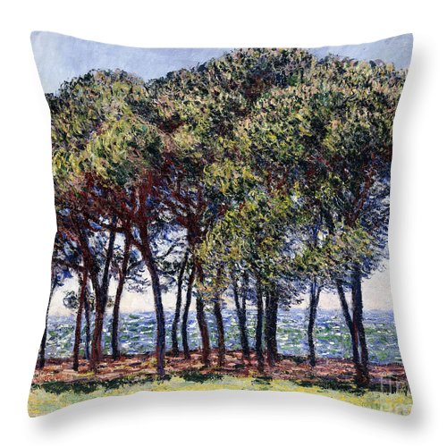 1880s Throw Pillow featuring the painting Pines by Claude Monet