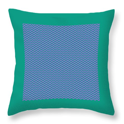 Pink Throw Pillow featuring the digital art Pink And Blue Chevron by Cassie Peters