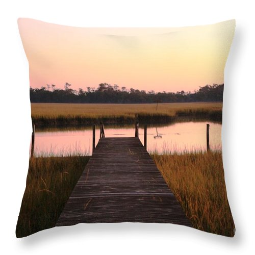 Pink Throw Pillow featuring the photograph Pink and Orange Morning On the Marsh by Nadine Rippelmeyer