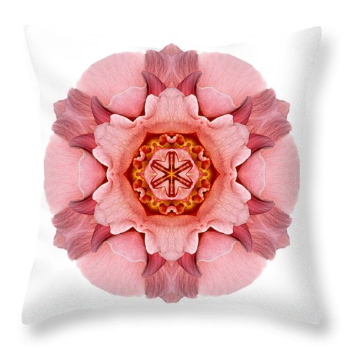 Flower Throw Pillow featuring the photograph Pink And Orange Rose Iv Flower Mandala White by David J Bookbinder