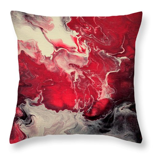 Pink Throw Pillow featuring the painting Pink And Purple Fluid Painting by Liz Moran