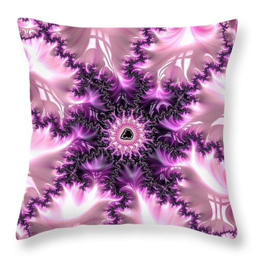 Pink Throw Pillow featuring the digital art Pink And Purple Soft And Creamy Fractal Art by Matthias Hauser