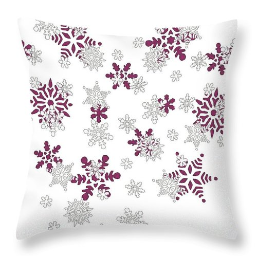 Pink And White Snowflakes With Transparent Background Throw Pillow For Sale By Taiche Acrylic Art