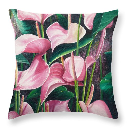 Floral Flowers Lilies Pink Throw Pillow featuring the painting Pink Anthuriums by Karin Dawn Kelshall- Best