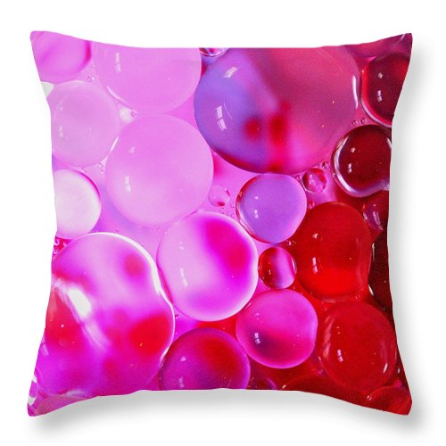 Pink Throw Pillow featuring the photograph Pink Bubbles by Christine Ricker Brandt