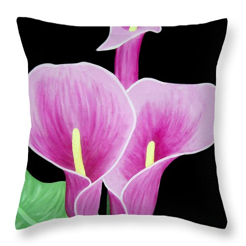 Flowers Throw Pillow featuring the painting Pink Calla Lilies 1 by Angelina Vick
