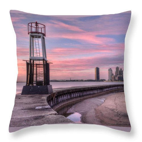 Chicago Throw Pillow featuring the photograph Pink City Sunrise by Lindley Johnson