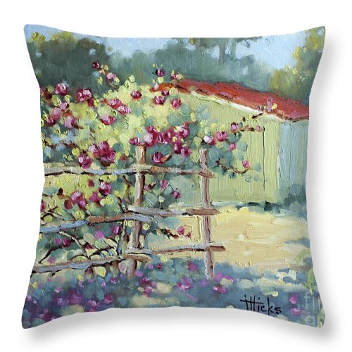 Impressionist Throw Pillow featuring the painting Pink Climbers In Texas by Joyce Hicks