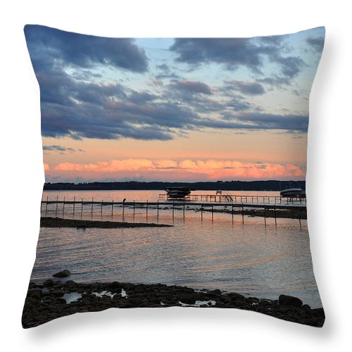 Pink Throw Pillow featuring the photograph Pink Clouds On Grand Traverse Bay by Diane Lent