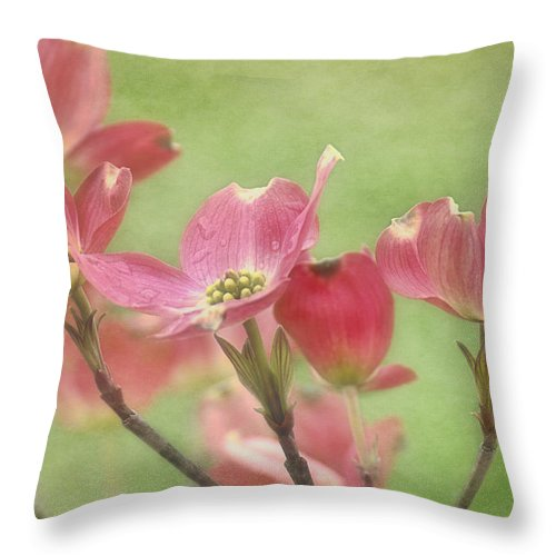 Pink Dogwood Blossoms Throw Pillow featuring the photograph Pink Dogwood by Mel Hensley