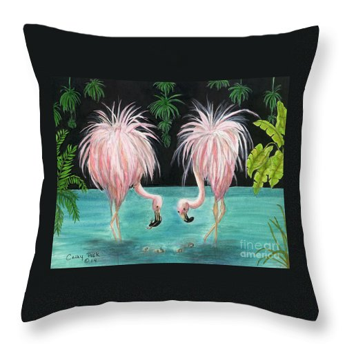 Pink Throw Pillow featuring the painting Pink Flamingo Booty Tropical Birds Art Cathy Peek by Cathy Peek