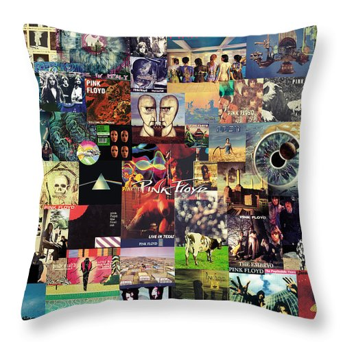 Pink Floyd Throw Pillow featuring the digital art Pink Floyd Collage II by Zapista OU
